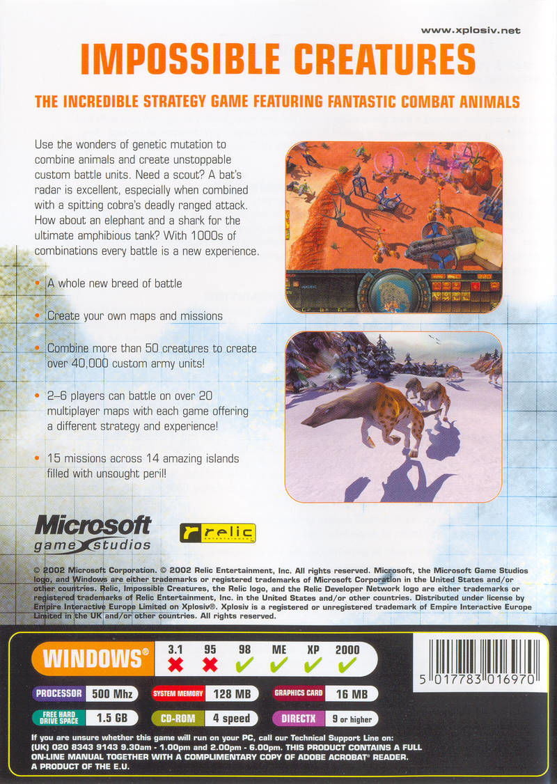 Impossible Creatures Windows Back Cover