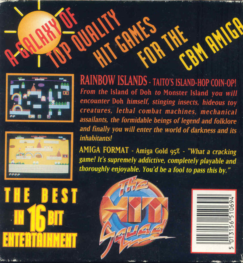 Rainbow Islands Amiga Back Cover