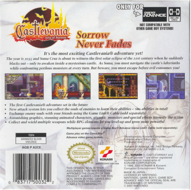 Castlevania: Aria of Sorrow Game Boy Advance Back Cover