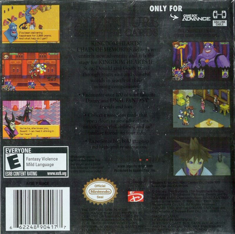 Kingdom Hearts: Chain of Memories Game Boy Advance Back Cover