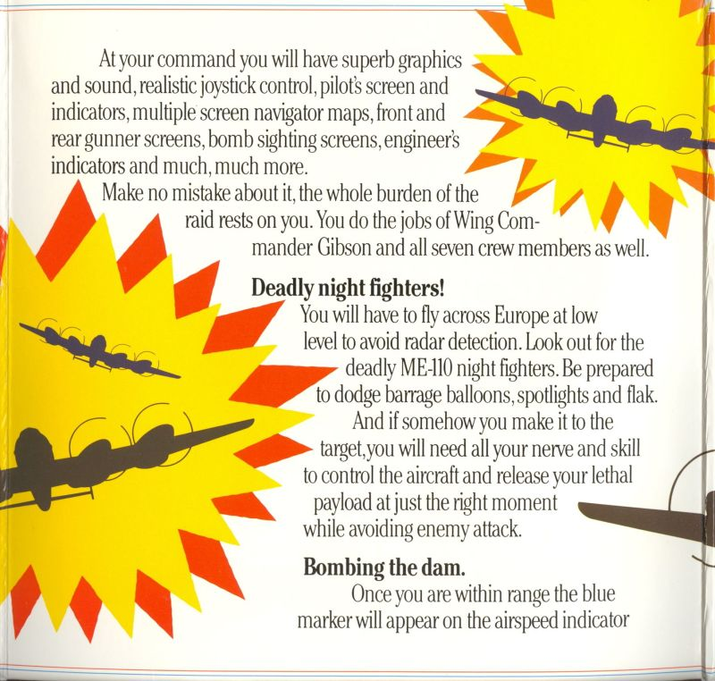 The Dam Busters Apple II Inside Cover Inside Flap - Center