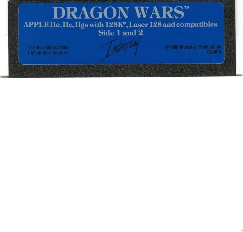 Dragon Wars Apple II Media Disk 1/2