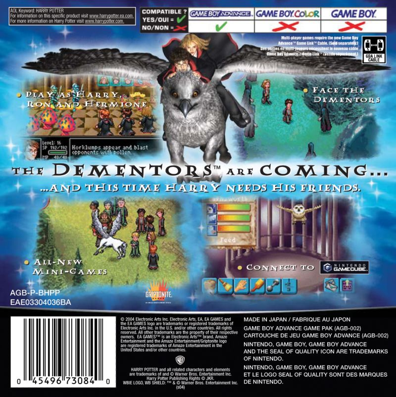 Harry Potter and the Prisoner of Azkaban Game Boy Advance Back Cover