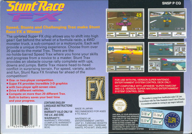 Stunt Race FX SNES Back Cover