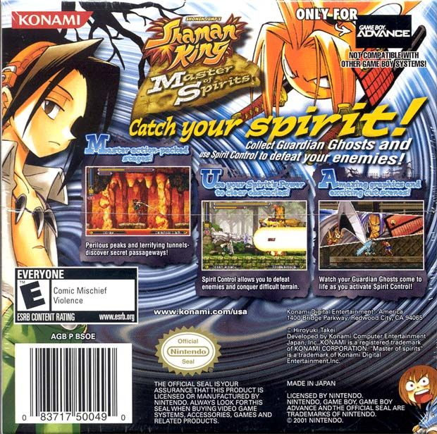 Shaman King: Master of Spirits Game Boy Advance Back Cover