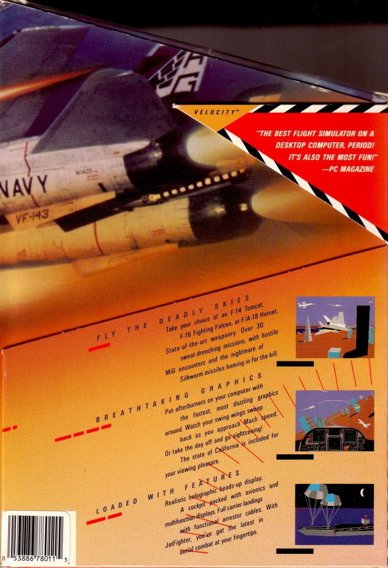 JetFighter: The Adventure DOS Back Cover