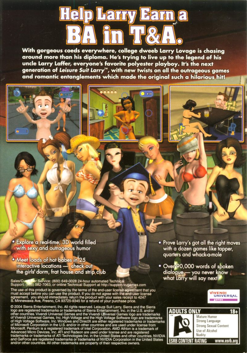 Leisure Suit Larry: Magna Cum Laude (Uncut and Uncensored!) Windows Back Cover