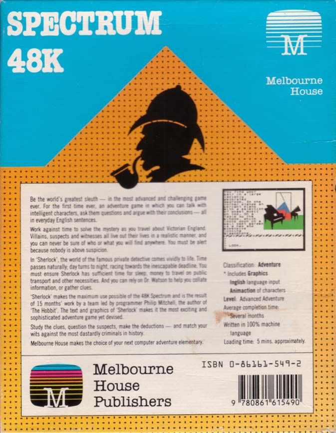 Sherlock ZX Spectrum Back Cover