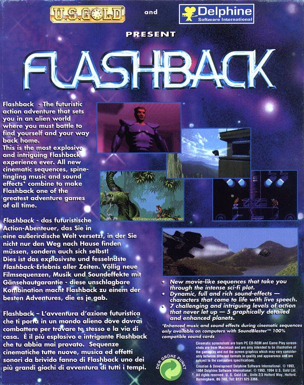 Flashback: The Quest for Identity DOS Back Cover