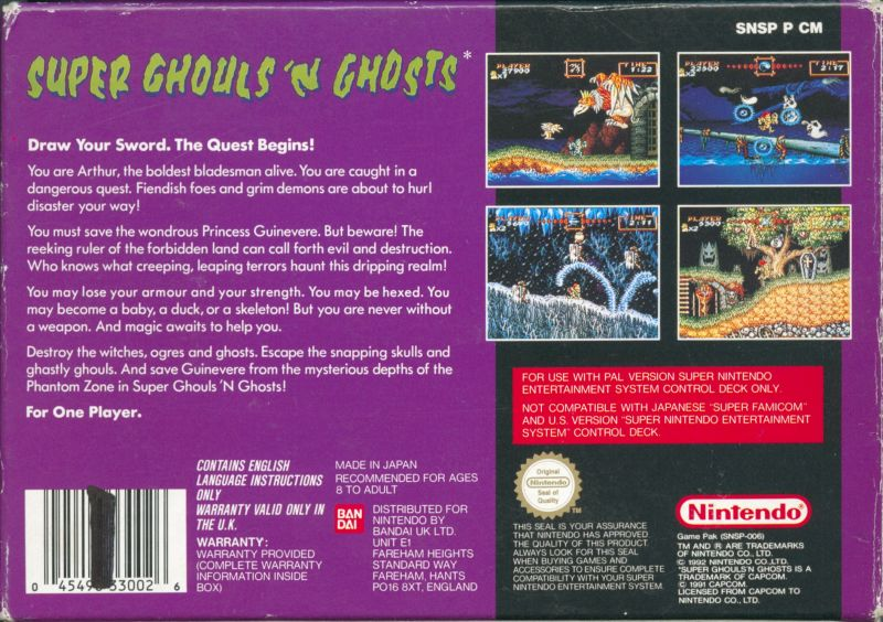 Super Ghouls 'N Ghosts SNES Back Cover