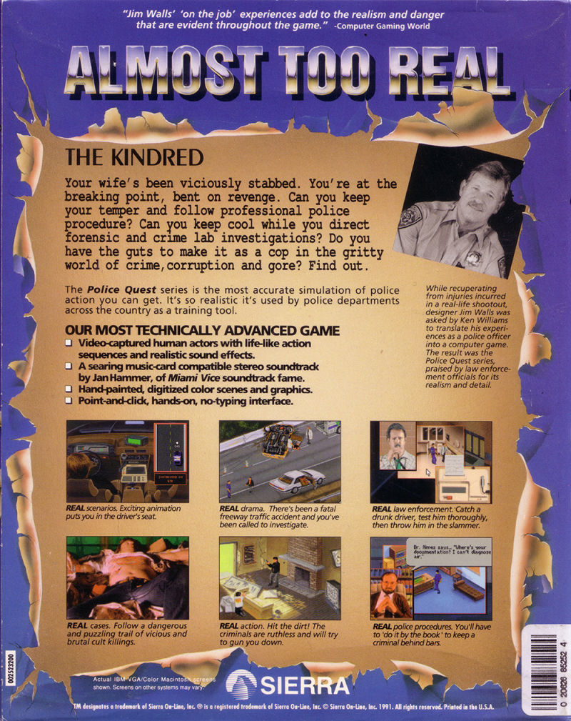 Police Quest 3: The Kindred DOS Back Cover