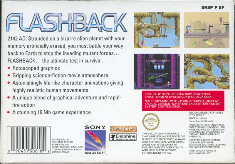 Flashback: The Quest for Identity SNES Back Cover