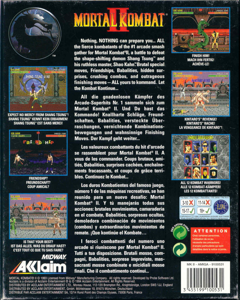 Mortal Kombat II Amiga Back Cover