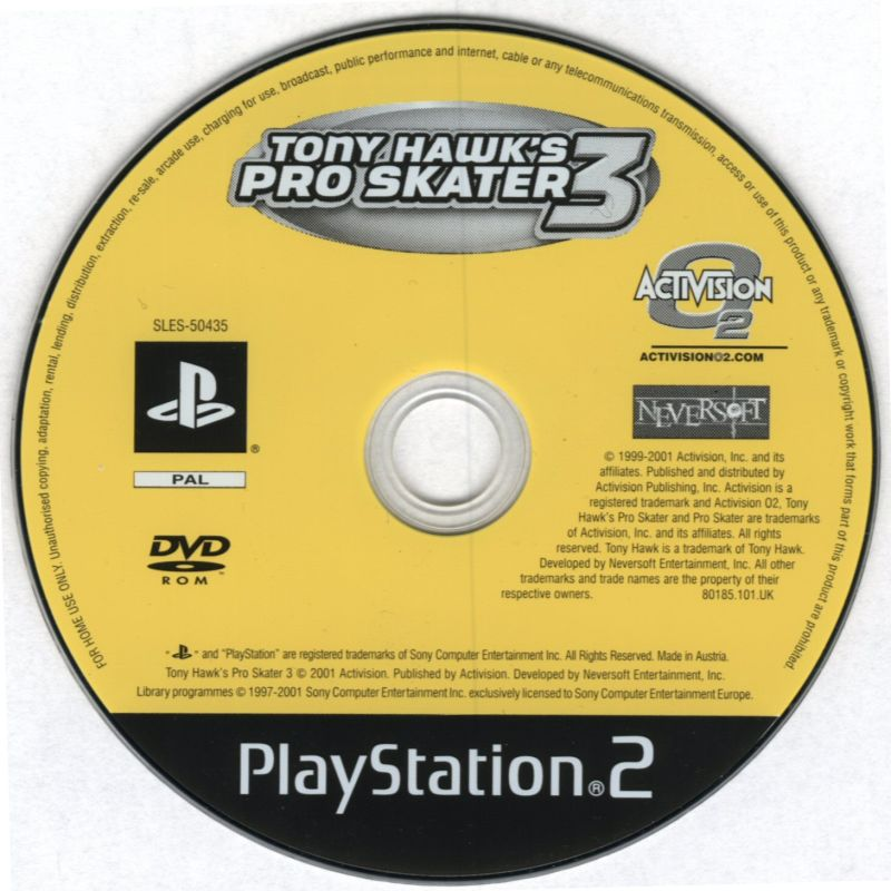 Tony Hawk's Pro Skater 3 PlayStation 2 Media