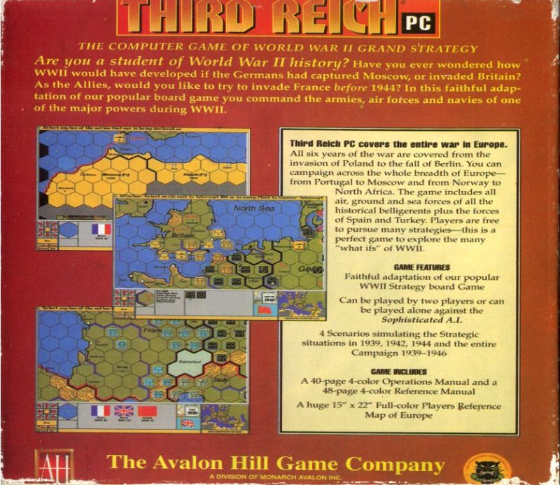 Third Reich DOS Back Cover
