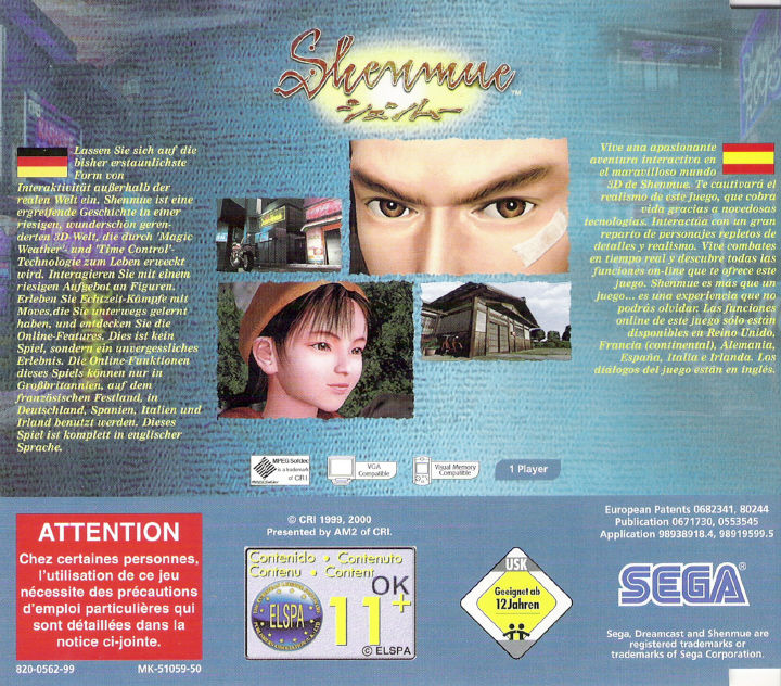 Shenmue Dreamcast Other Jewel Case 2