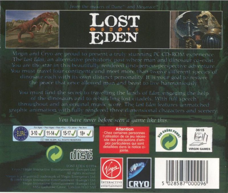 Lost Eden DOS Other Jewel Case - Back