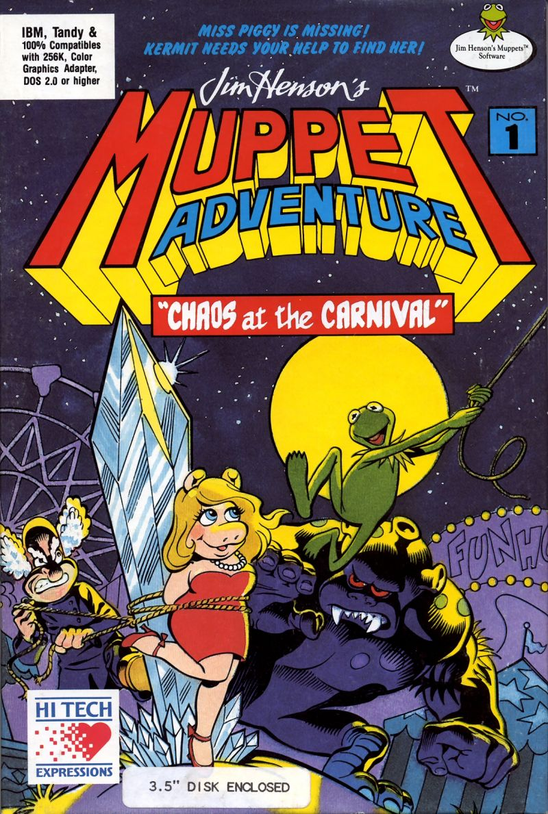 """Jim Henson's Muppet Adventure No. 1: """"Chaos at the Carnival"""" DOS Front Cover"""