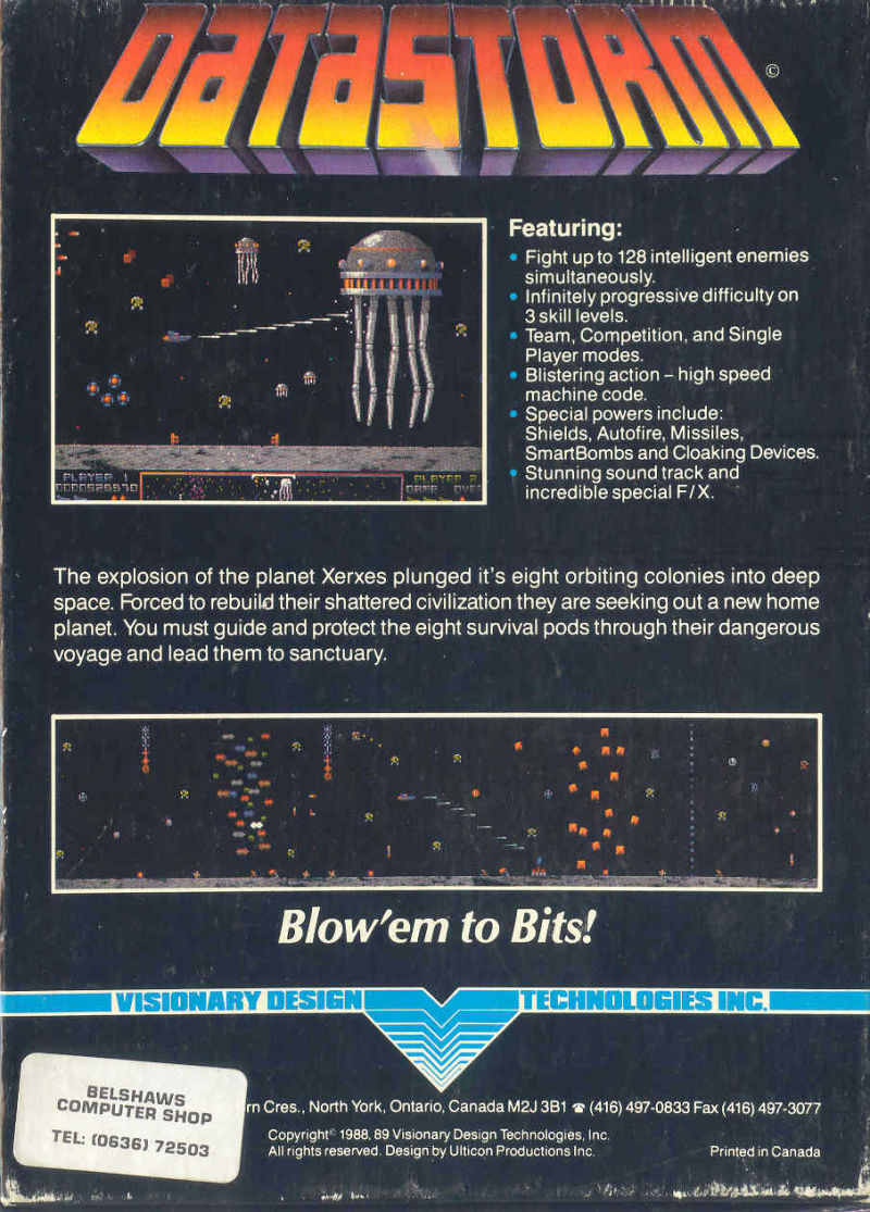 Datastorm Amiga Back Cover