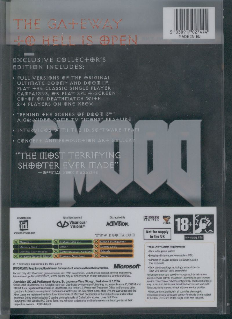 DOOM³ (Limited Collector's Edition) Xbox Back Cover