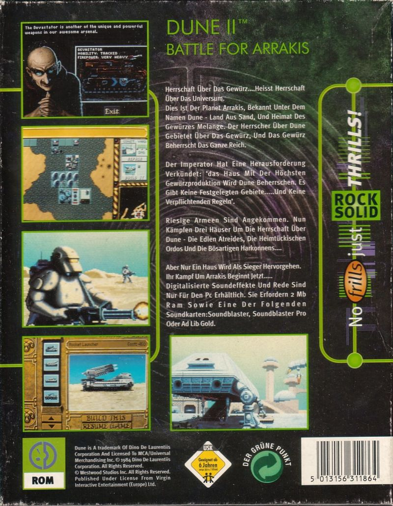 Dune II: The Building of a Dynasty DOS Back Cover