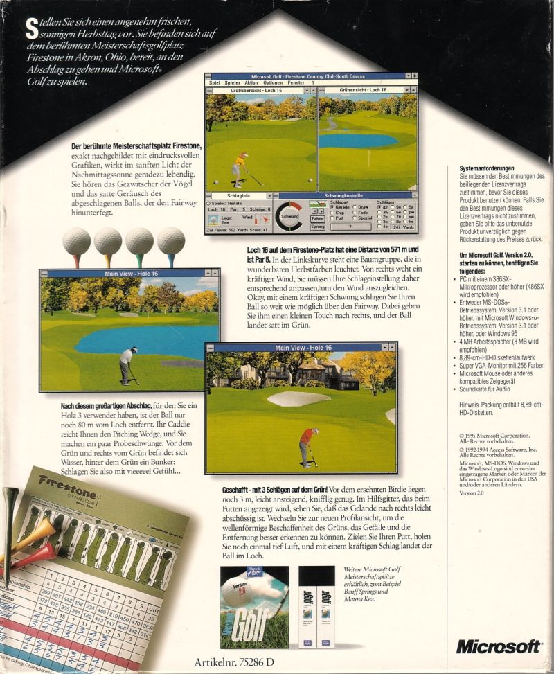 Microsoft Golf 2.0 Windows Back Cover