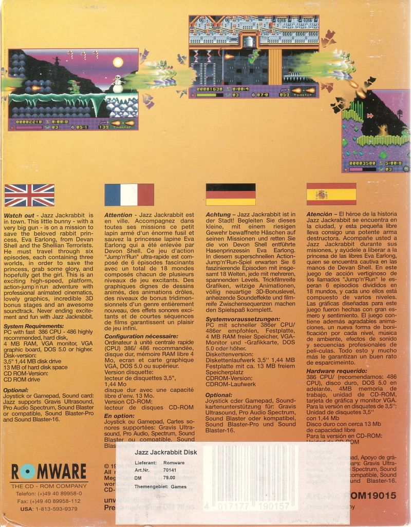 Jazz Jackrabbit DOS Back Cover