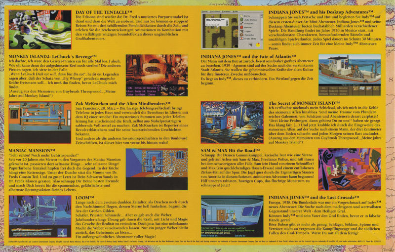 Zehn Adventures DOS Back Cover