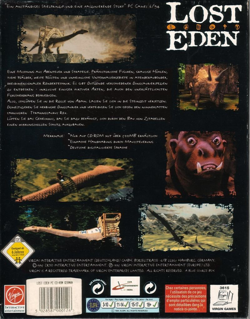 Lost Eden DOS Back Cover