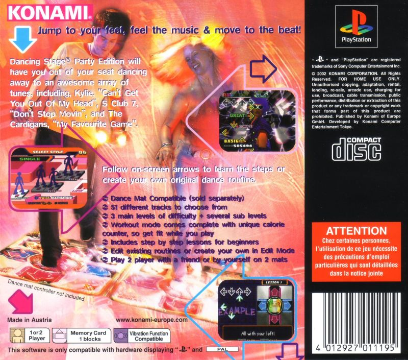 Dancing Stage Party Edition PlayStation Back Cover