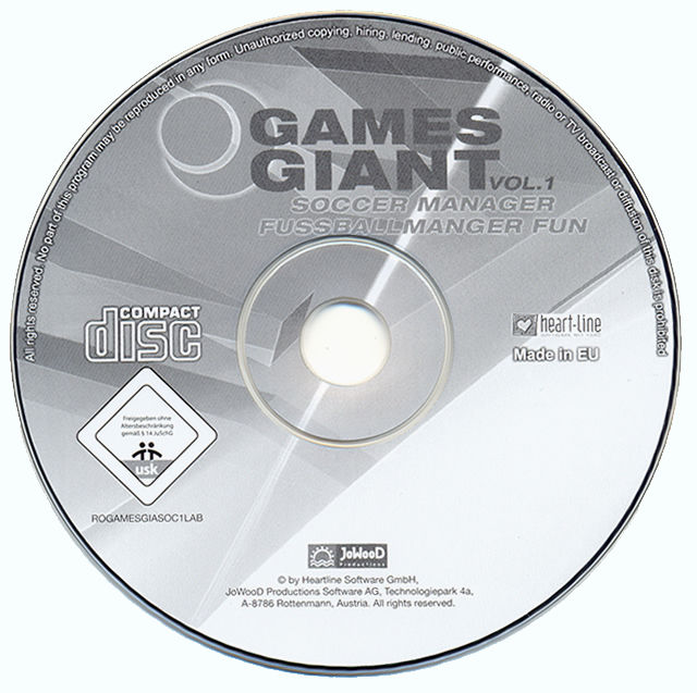 15 Giant Games Vol.1 Windows Media Soccer Manager disc