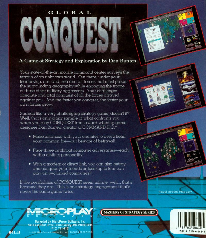 Global Conquest DOS Back Cover