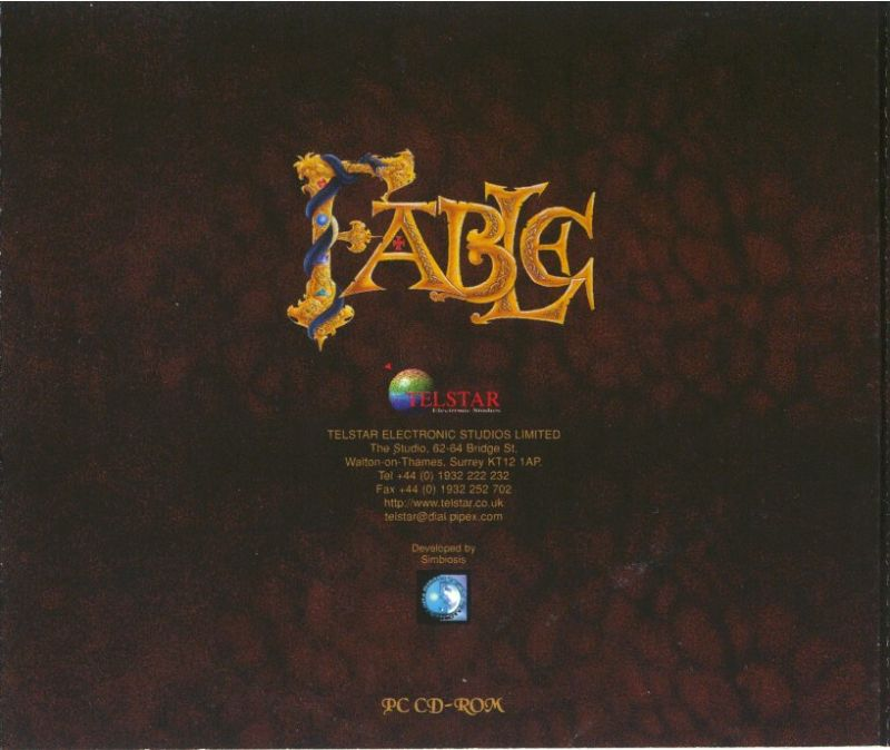 Fable DOS Other Jewel Case - Back