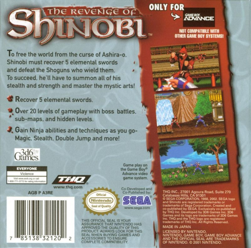 The Revenge of Shinobi Game Boy Advance Back Cover