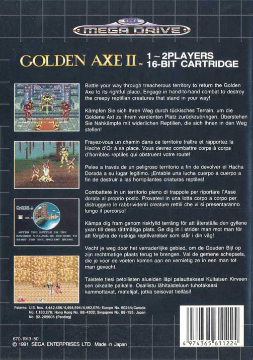 Golden Axe II Genesis Back Cover