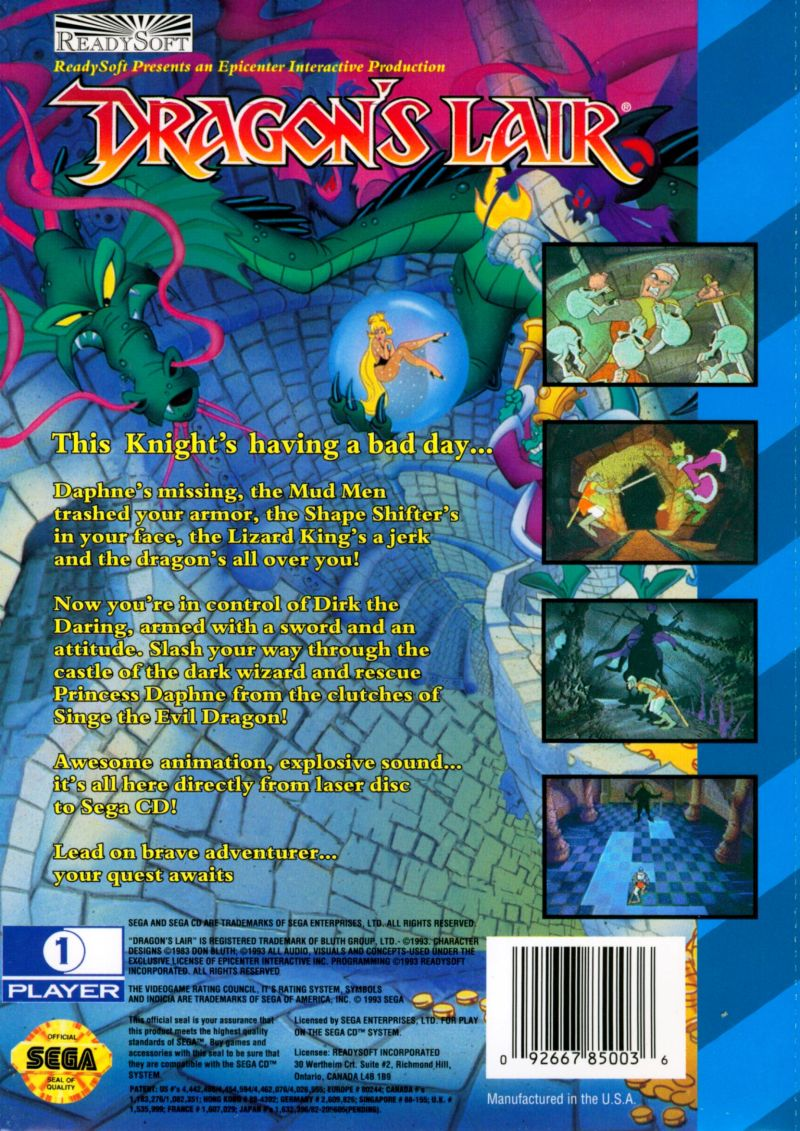 Dragon's Lair SEGA CD Back Cover