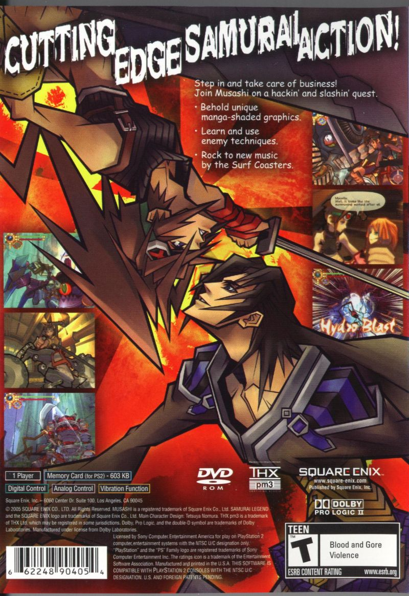 Samurai Legend Musashi PlayStation 2 Back Cover