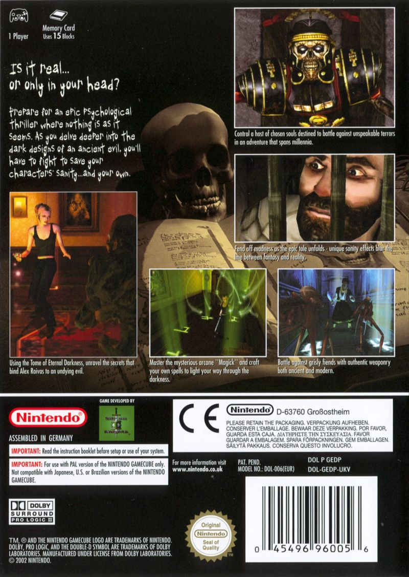 Eternal Darkness: Sanity's Requiem GameCube Back Cover
