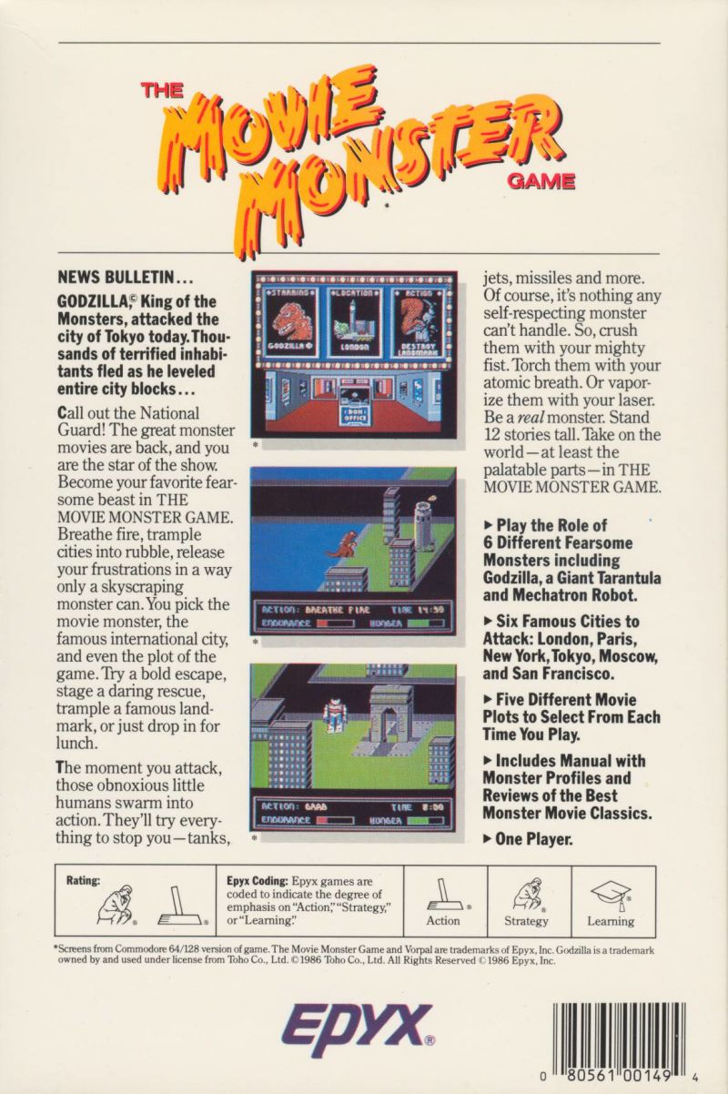 The Movie Monster Game Commodore 64 Back Cover