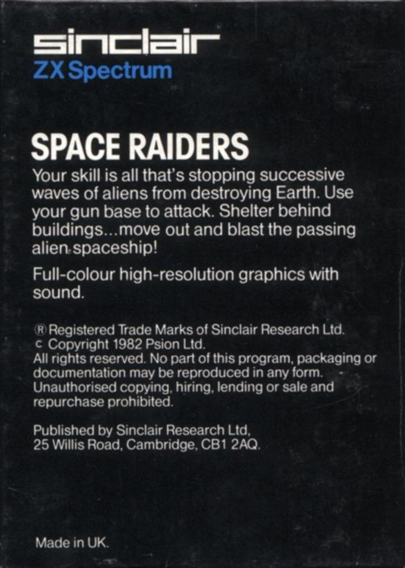 Space Raiders ZX Spectrum Back Cover