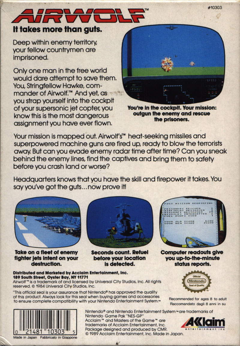 Airwolf NES Back Cover