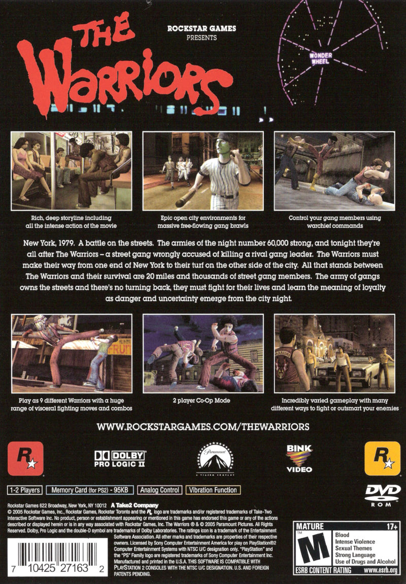 The Warriors PlayStation 2 Back Cover