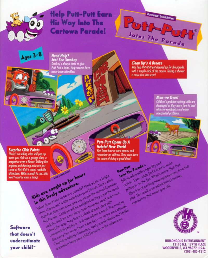 Putt-Putt Joins the Parade Macintosh Back Cover