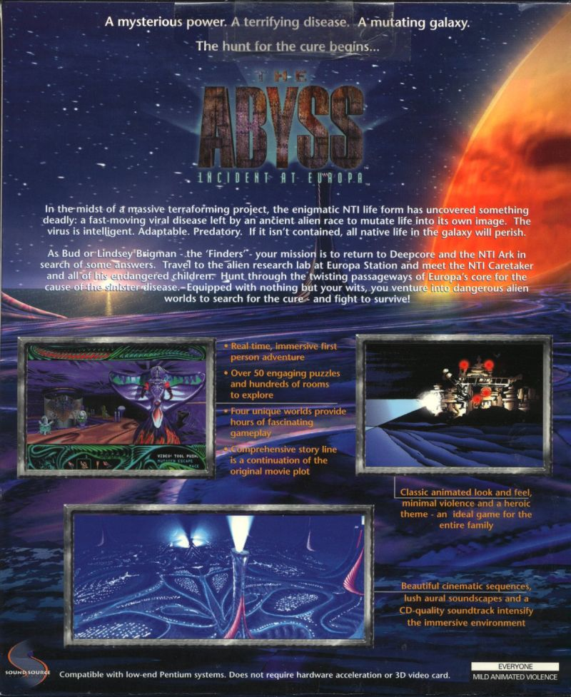 The Abyss: Incident at Europa Windows Back Cover