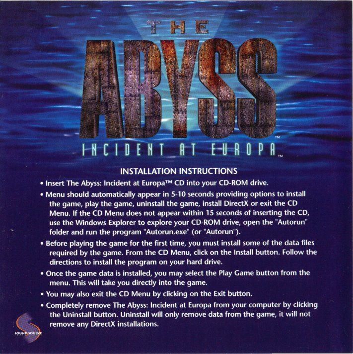 The Abyss: Incident at Europa Windows Other Jewel Case - Inside Left