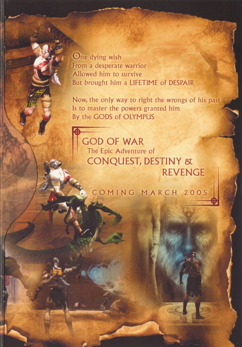 God of War PlayStation 2 Inside Cover Right
