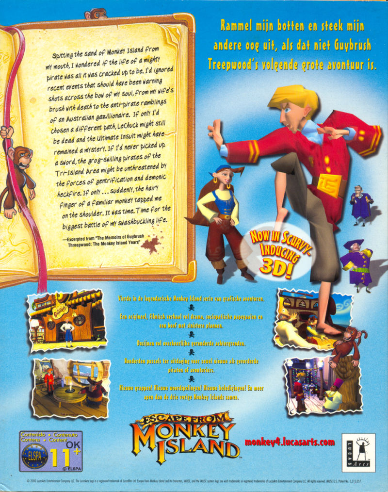 Escape from Monkey Island Windows Back Cover