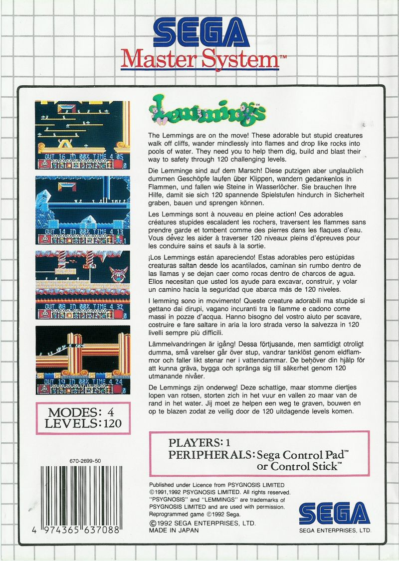 Lemmings SEGA Master System Back Cover