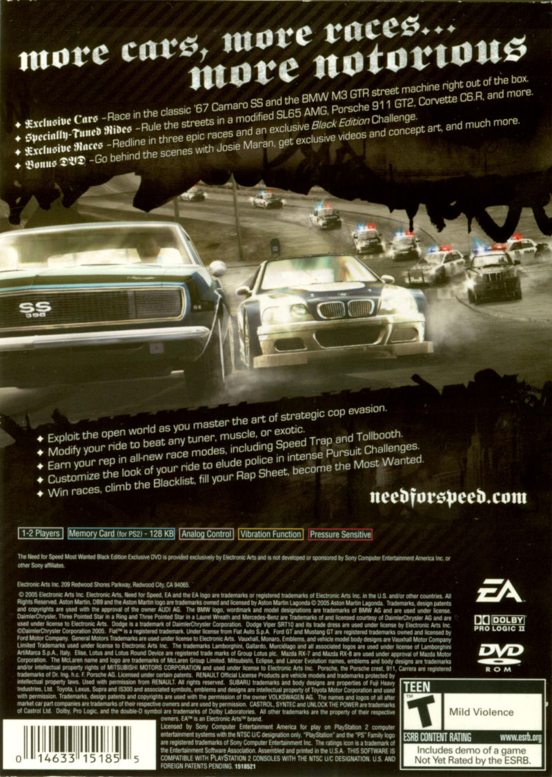 Need for Speed: Most Wanted (Black Edition) PlayStation 2 Back Cover