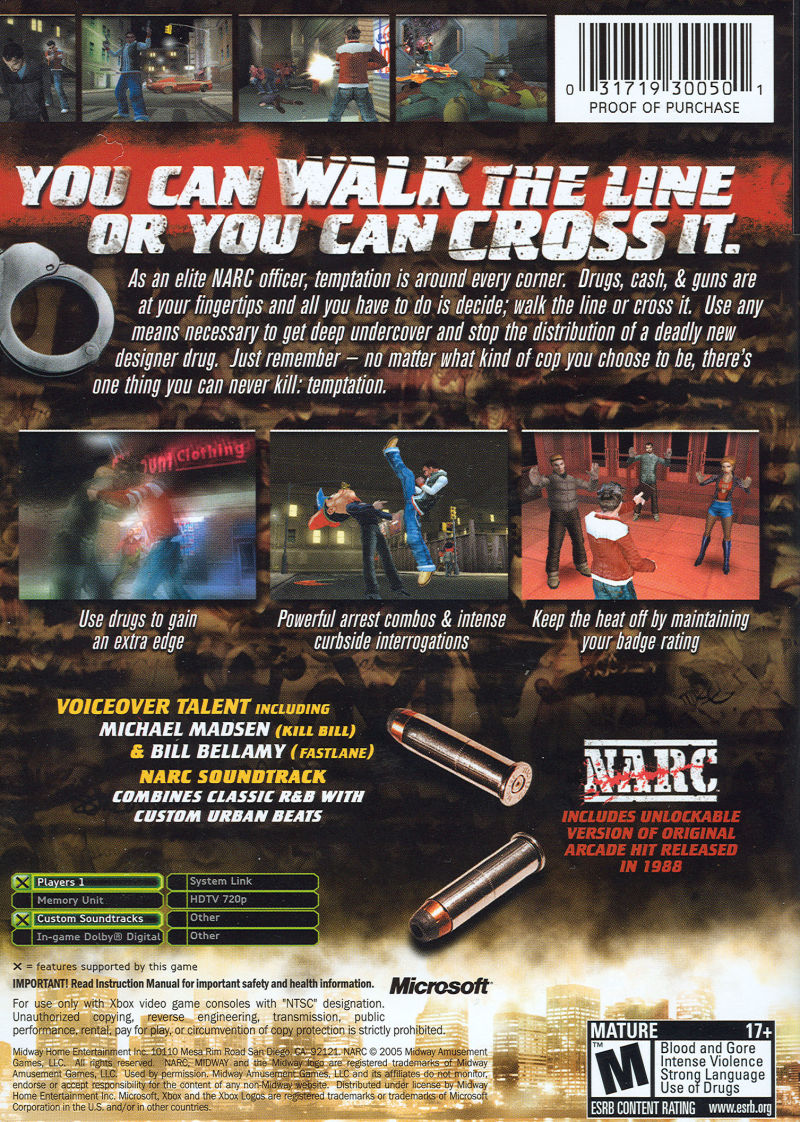 NARC Xbox Back Cover